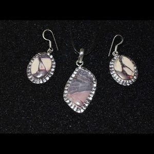 handmade & handcrafted gemstone jewelry Jewelry - Porcelain Jasper Pendant & Earrings Set